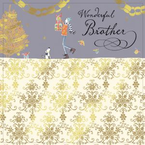 Brother Christmas Card with Gold Foiling, Contemporary Design and Red Envelope KIS19